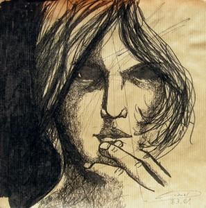 Visage – feutre sur papier (25x25cm) 2001 (Dessins)
