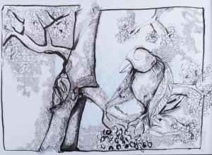 L'oiseau – encre de Chine sur papier (50×70 cm) 2013 (Etat d'âme)