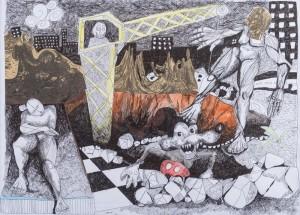 Ma cité 1 – encre de Chine sur papier (50×70 cm) 2012 (Etat d'âme)