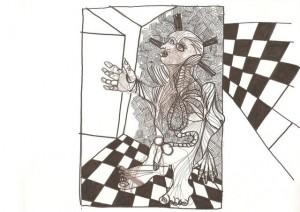 Cette route étroite – crayon encre sur papier (21x30cm) 2010 (Poétique du corps)