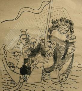 La nef des fous – crayon encre sur papier (30x25cm) 2007 (La nef des fous)