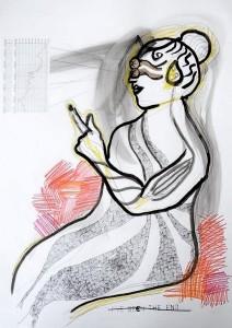 Des mesures concrètes – dessin collage sur papier (70x50cm) 2010 (Poétique du corps)