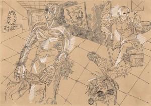 Ebulition-Réaction – crayon encre sur papier (21x30cm) 2011 (Poétique du corps)