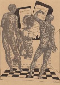 Il est temps de partir 2 – encre,collage,imprimé sur papier (30x21cm) 2011 (Poétique du corps)