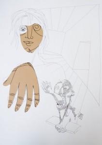La seconde extremité – dessin collage sur papier (70x50cm) 2010 (Poétique du corps)