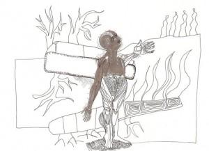 L'éloignement du monde – encre,imprimé sur papier (21x30cm) 2010 (Poétique du corps)