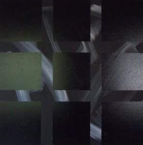 Sans titre acrylique et peinture synthétique sur toile – (130x130cm) 2008 (Espace cruciforme)