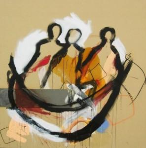 la nef des fous – technique mixte sur toile (200x200cm) 2007 (Stultifera Navis)