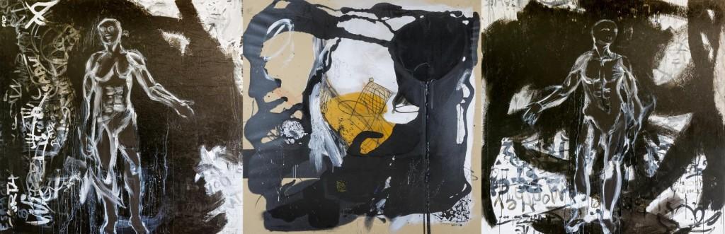 A fleur de peau - acrylique et peinture synthétique sur toile (200x600cm) 2006