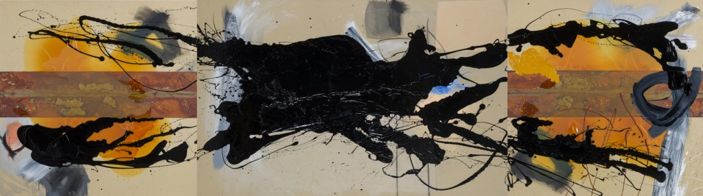 ciel-terre - acrylique et peinture synthétique sur toile (130x460cm) 2003